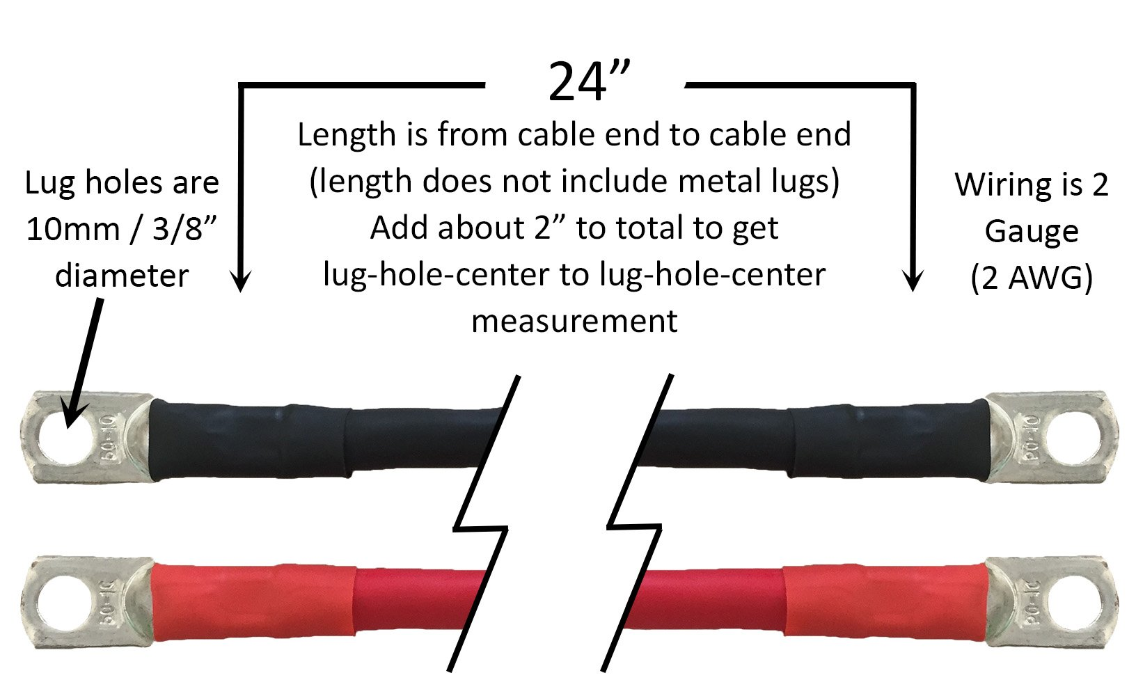 Truck Upfitters 24'' Pair of 2 AWG Black & Red Power Cables for Inverters, Solar Panels, Car, Truck, RV, and Marine Applications