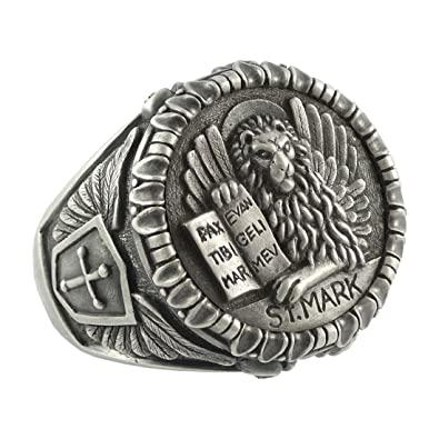 Handcrafted Sterling Silver Mens Ring Venetian Lion Of St Mark The