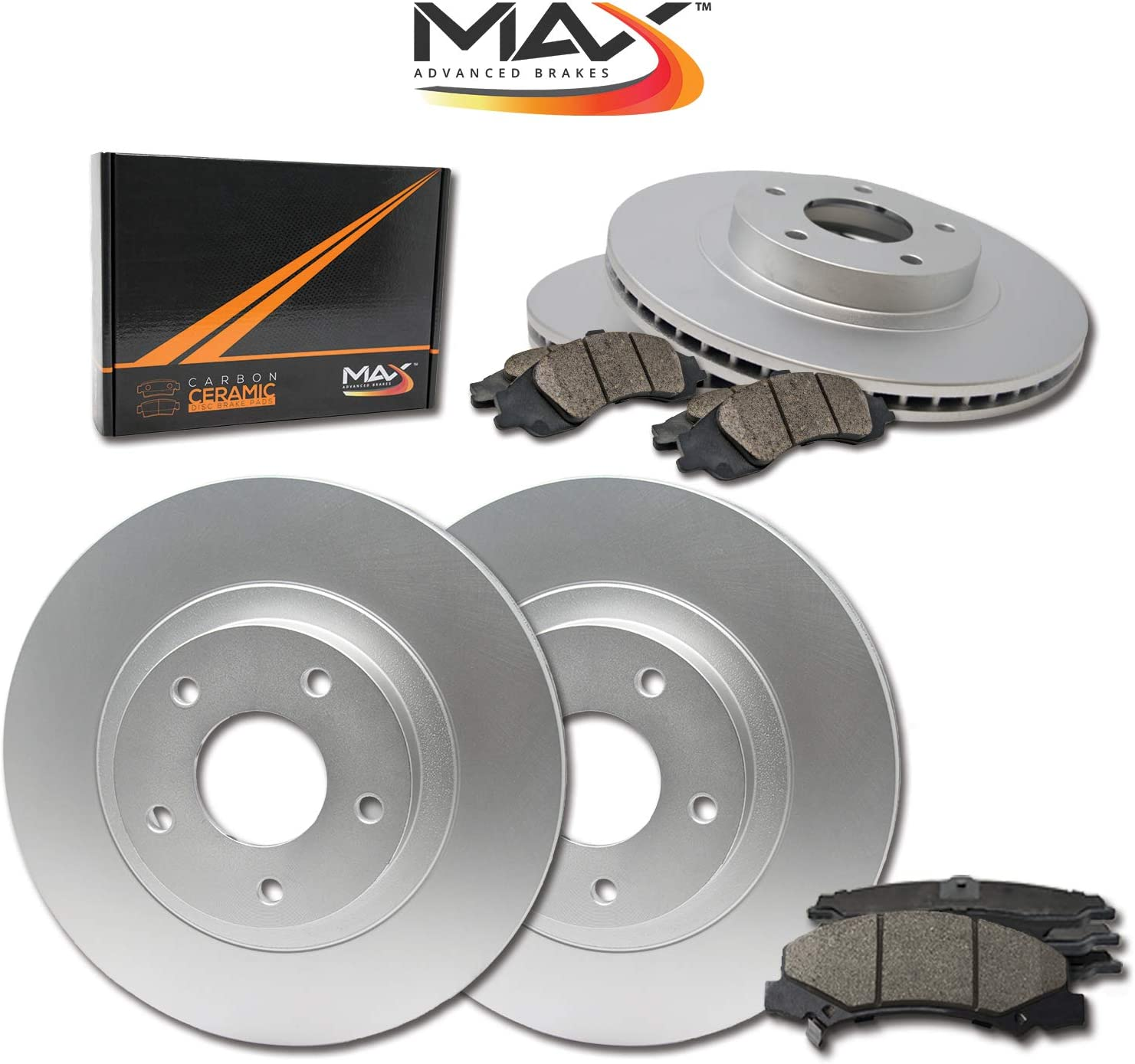 Max Brakes Geomet OE Rotors with Carbon Ceramic Pads KT069663 Front + Rear