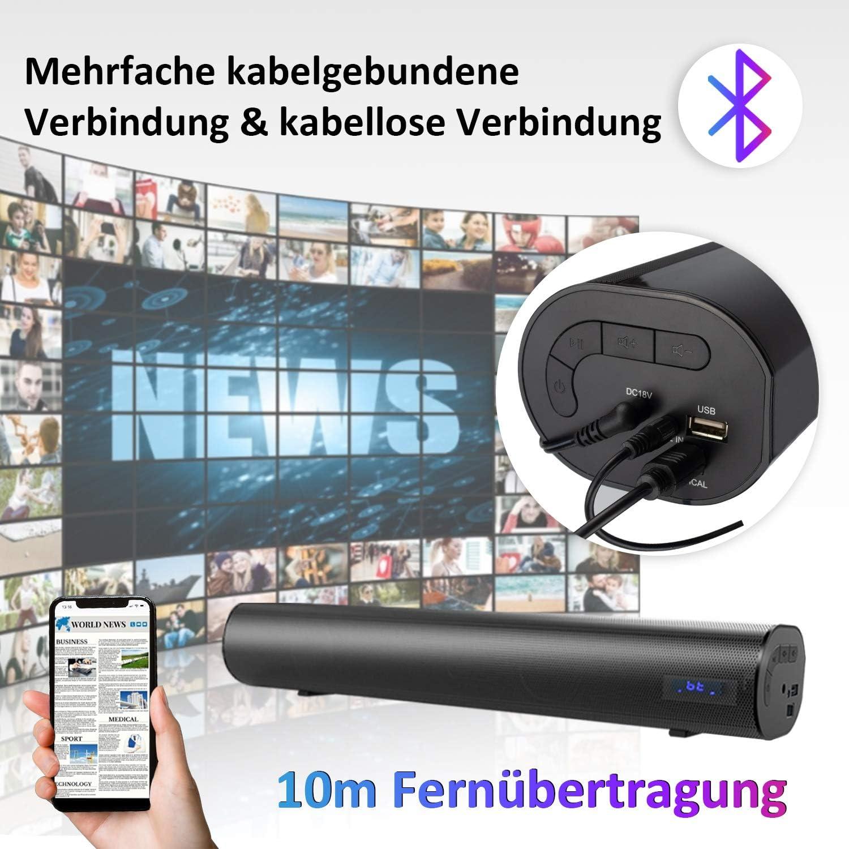 106 dB // 60 W cable de 18,9 pulgadas e inal/ámbrico Bluetooth 5.0 sistema de cine en casa barras de sonido para TV Barra de sonido con bater/ía de litio sonido envolvente 3D