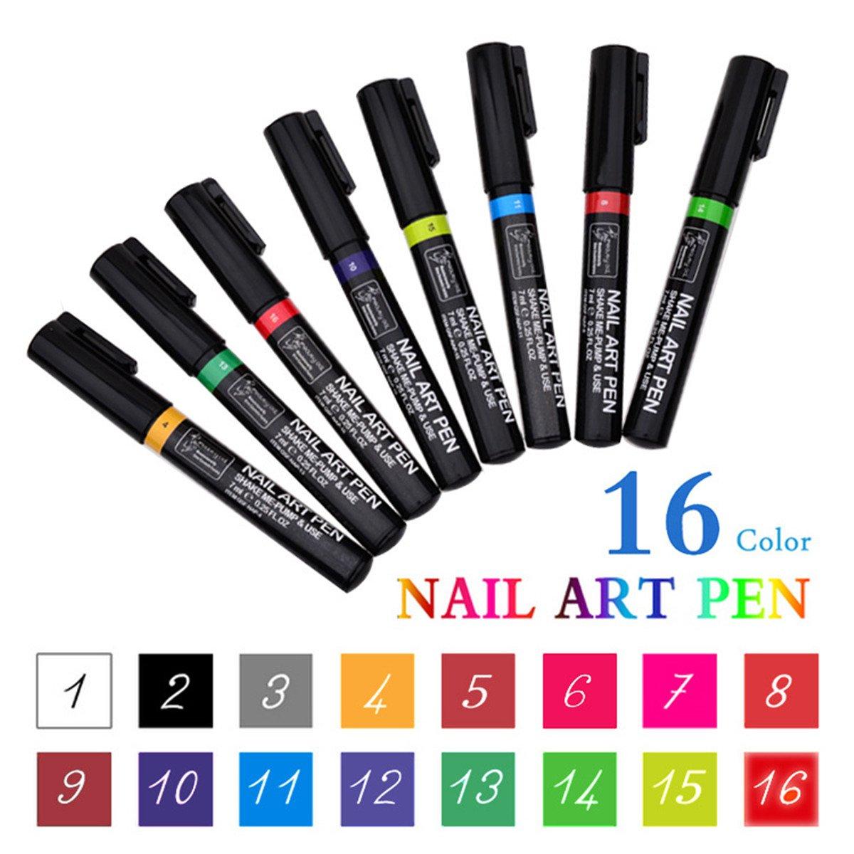 Nagellack Stift,16 Farben Nagel Kunst Feder Nageldesign Stift DIY ...