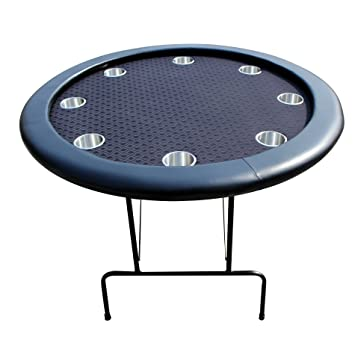 EBS 8 Players Round Foldable Poker Table Cup Holders Metal Folding Legs    Black 120 Cm