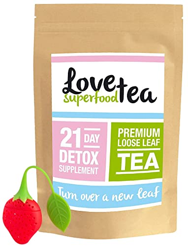 Love Superfood Tea 21 Day Detox Herbal Tea Supplement to Boost Energy and Reduce Bloating, Appetite Suppressant, Comes with Free Infuser (63 Grams of Premium Loose Tea Leaves)