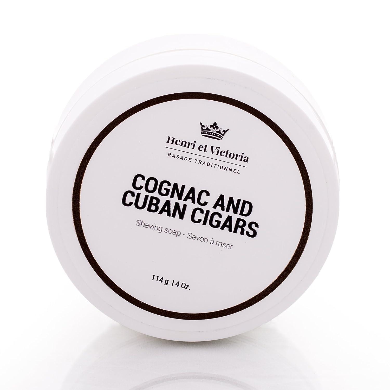 Henri et Victoria Shaving Soap For Men | Cognac and Cuban Cigars Shaving Cream Fragrance | Canadian Made by Skilled Artisan |Moisturizing, Ultra Glide, Cushioning, Easy Lather, Prevent Razor Burn and Dry Skin | 114 g (4 oz) Henri et Victoria inc