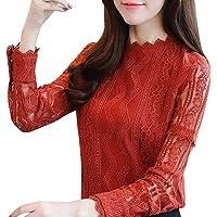 DMZing Blusa de Moda para Mujer Hallmark Casual Elegante Oficina Encaje Rayas Floral Manga Larga Slim Ruffles