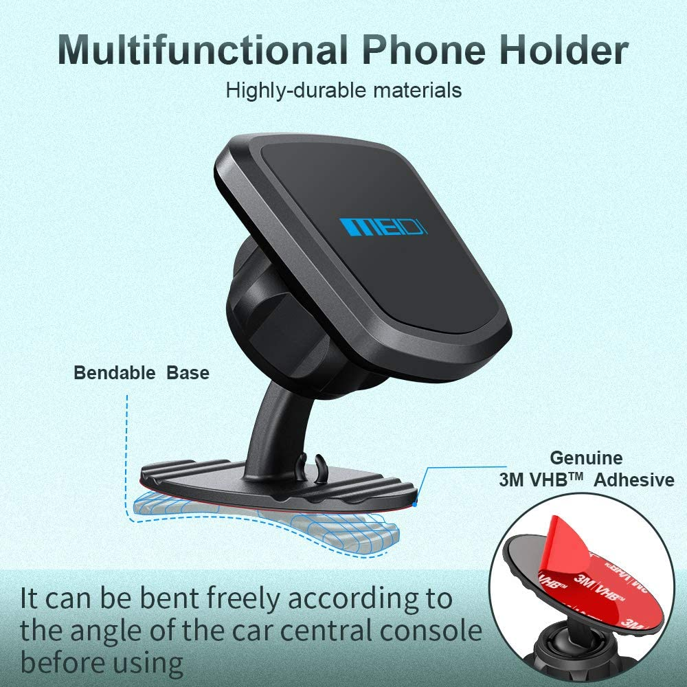 OnePlus Grey MEIDI Magnetic Mount HTC LG and More Pixel Samsung Universal 360/° Rotation Dashboard Cell Phone Holder Compatible with iPhone
