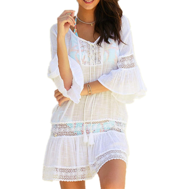 PANAX Damen Kleid mit Spitze Urlaub Strand Bikini Kittel Strandponcho Sommer Bademode