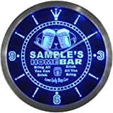 ncp-tm Home Bar Personalised Your Name Bar Pub Kitchen Sign Neon LED Wall Clock