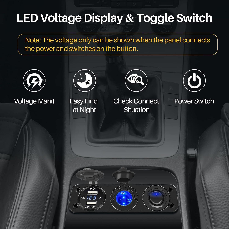 avec Voltm/ètre LED et Interrupteur,pour Voiture,Remorque,Bateau Tbrand 12V//24V Prise Allume-Cigare Marine /étanche,36W Double USB//QC3.0 Panneau en Alliage Daluminium