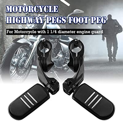 Sporacingrts Left & Right 1 1/4 inch 32mm Engine Guard Motorcycle Highway Pegs Foot Peg for Harley Softail Sportster Electra - Black: Automotive