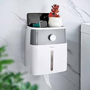 YOHOM Toilet Paper Roll Holder Adhesive Wall Mount Waterproof Toilet Tissue Storage Box for Bathroom Paper Towel Dispenser with Shelf and Drawer No Drilling, White and Grey