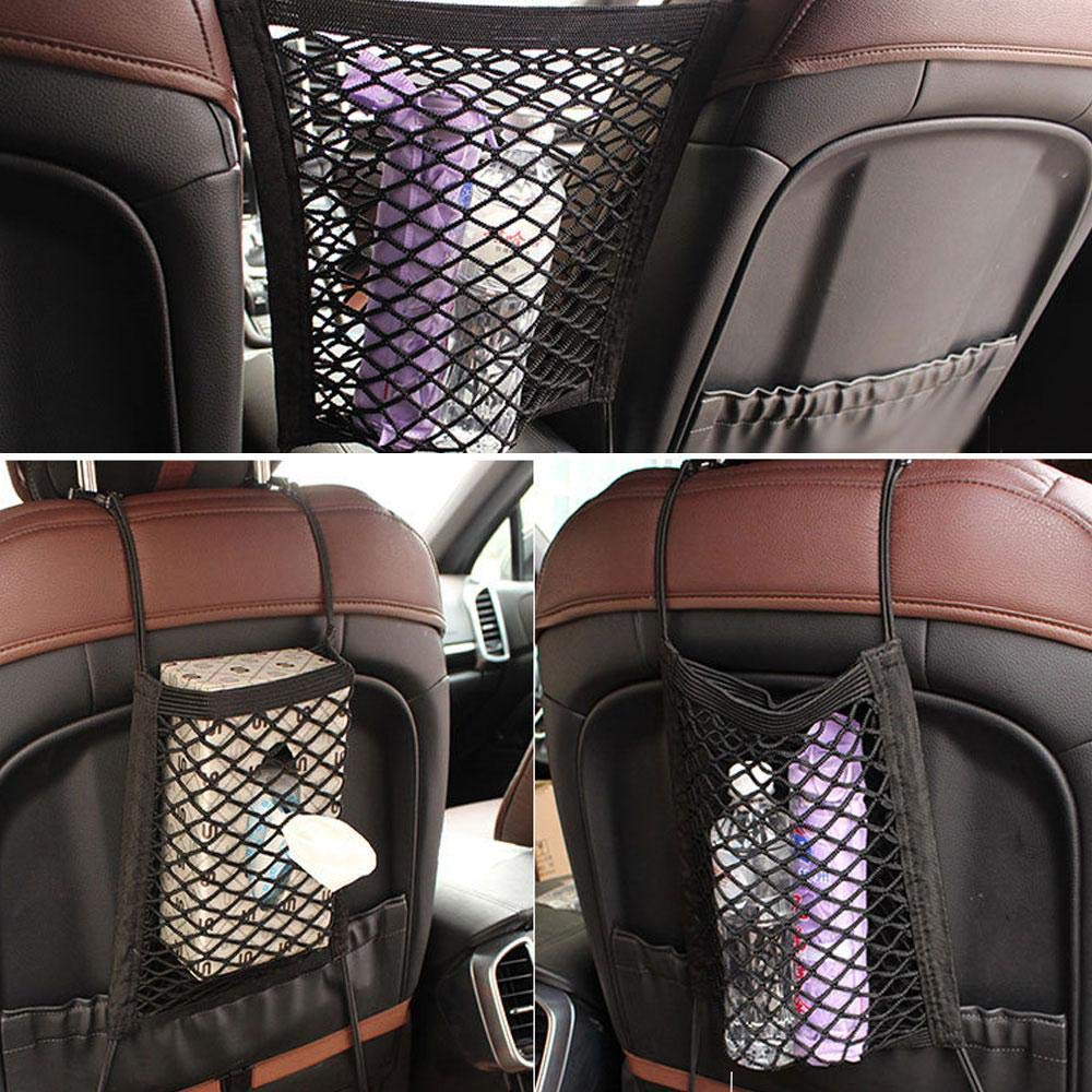 Driver Storage Netting Pouch for Jeep Van SUV Volwco Car Seat Storage Mesh Organizer Universal Car Interior Cargo Seat Back Net Bag