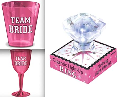 36993bfafe6 Team Bride Pink Plastic Wine 16 Glasses and 40 Glass Shot Set with Giant  Light Up Ring Bachelorette Party Kit by recoverychip  Amazon.co.uk  Kitchen    Home