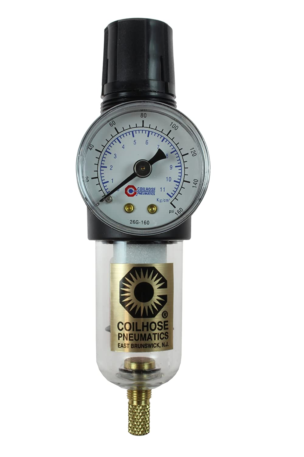 Coilhose Pneumatics MFC2-G Miniature Series Integral Filter Regulator Combo, 1/4-Inch Pipe Size with 0-160 PSI Pressure Gauge