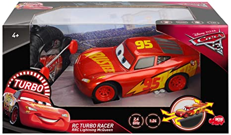 Dickie Toys 203084010 Cars 3 rrc Turbo Racer Lightning Mcqueen RC Coche, Coche Teledirigido,