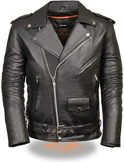 High Milage Mens Motorcycle Heavy Duty Antiqe Distressed Grey Police Style Leather Jacket S Regular
