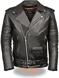 Milwaukee Leather SH1011 Men's Classic Side Lace Police Style Motorcycle Leather Jacket - 5X-Large