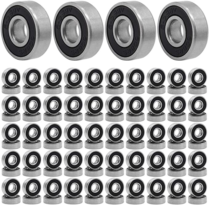 CZQC 608 Ball Bearing 10PCS 608 ABEC-9 Double Rubber Sealed Shielded Miniature Deep Rotate Speed Bearings for Skateboard Longboard Rollerblade Wheel Truck 8mm x 22mm x7mm Black