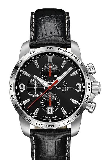 Certina - Reloj automático para hombre, correa de cuero color negro: Amazon.es: Relojes