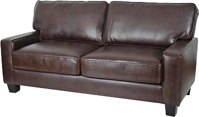 "73"" Sofa, Comfortable Modern Seating, Upgraded single platform base, Durable Solid Hardwood Frame, Individual Pocket Coil Springs, High-Density Foam Cushions, Chestnut + Expert Guide"