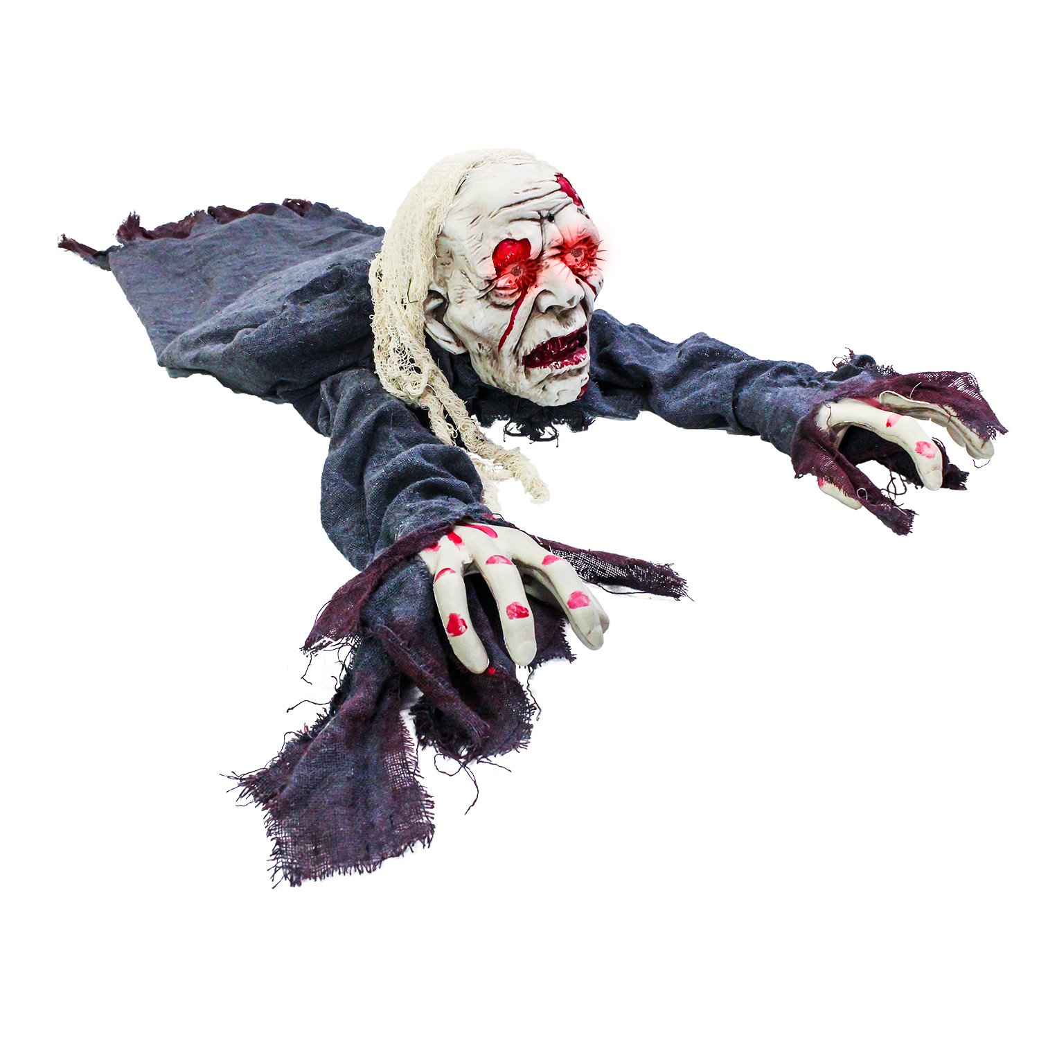 Halloween Haunters Animated Crawling Half Torso Zombie Groundbreaker Graveyard Prop Decoration Light Up Eyes (Battery Operated)