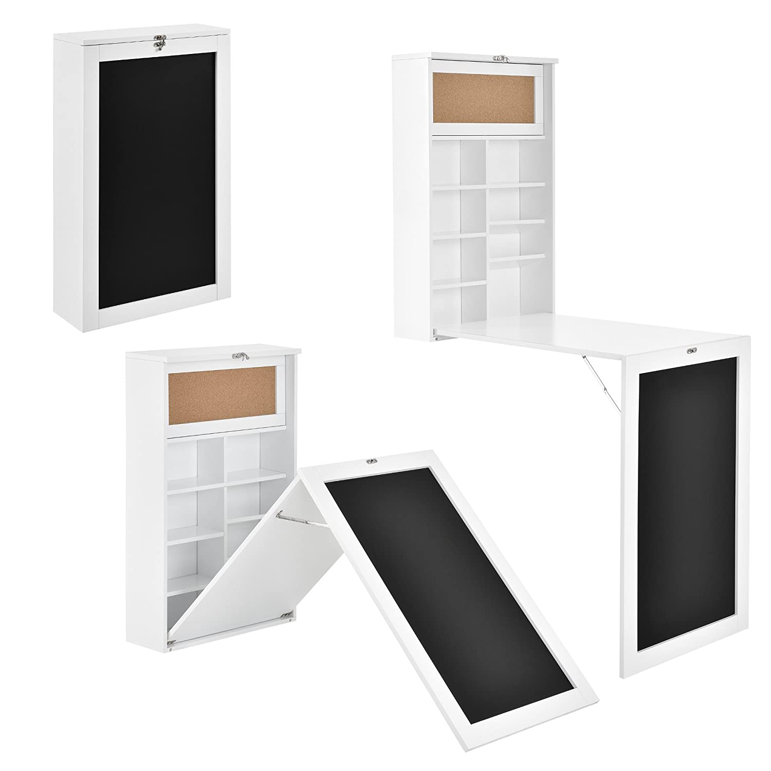 156 x 50 x 91.5 cm en.casa white Compact wall integrated desk office computer workstation table