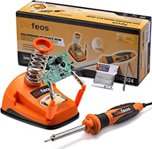 Dicfeos Soldering Iron Station, 30 Watt 110-120V Rapid Heating Soldering Iron with 1 Pack Solder Wire and Extra Solder Tip, Temperature 300℃