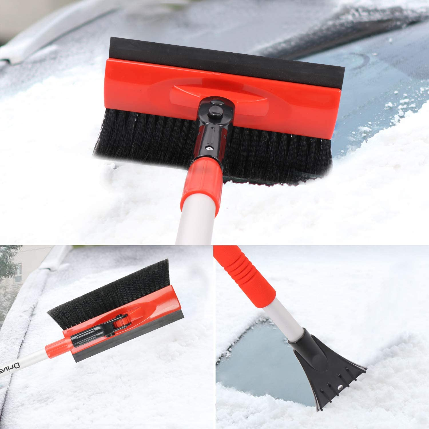 Red Telescoping Snow Brush for Car Truck SUV Drivaid Car Snow Brush with Squeegee Foam Grip 32 to 46.5 Extendable Auto Snow Removal Broom with Ice Scraper