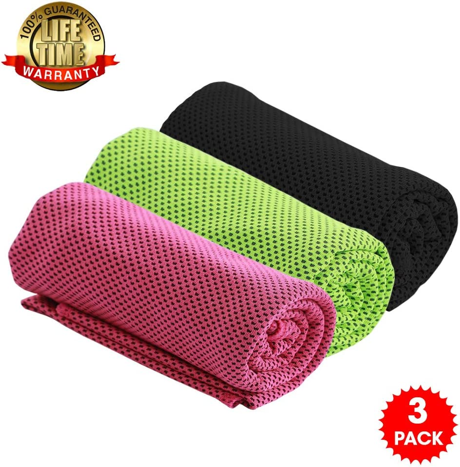 QOLY Cooling Towel Ice Towel for Men and Women, Fitness, Gym, Outdoor Sports,Yoga, Golf, Camping, Running, Hiking,Travel and More(3PCS)
