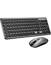 Wireless Keyboard and Mouse Set,【Scissor Key Design】Patuoxun Ergonomic 2.4G Cordless Keyboard&Mouse Combo with Nano USB Receiver for Computer PC Apple Mac Windows,QWERTY,UK Layout