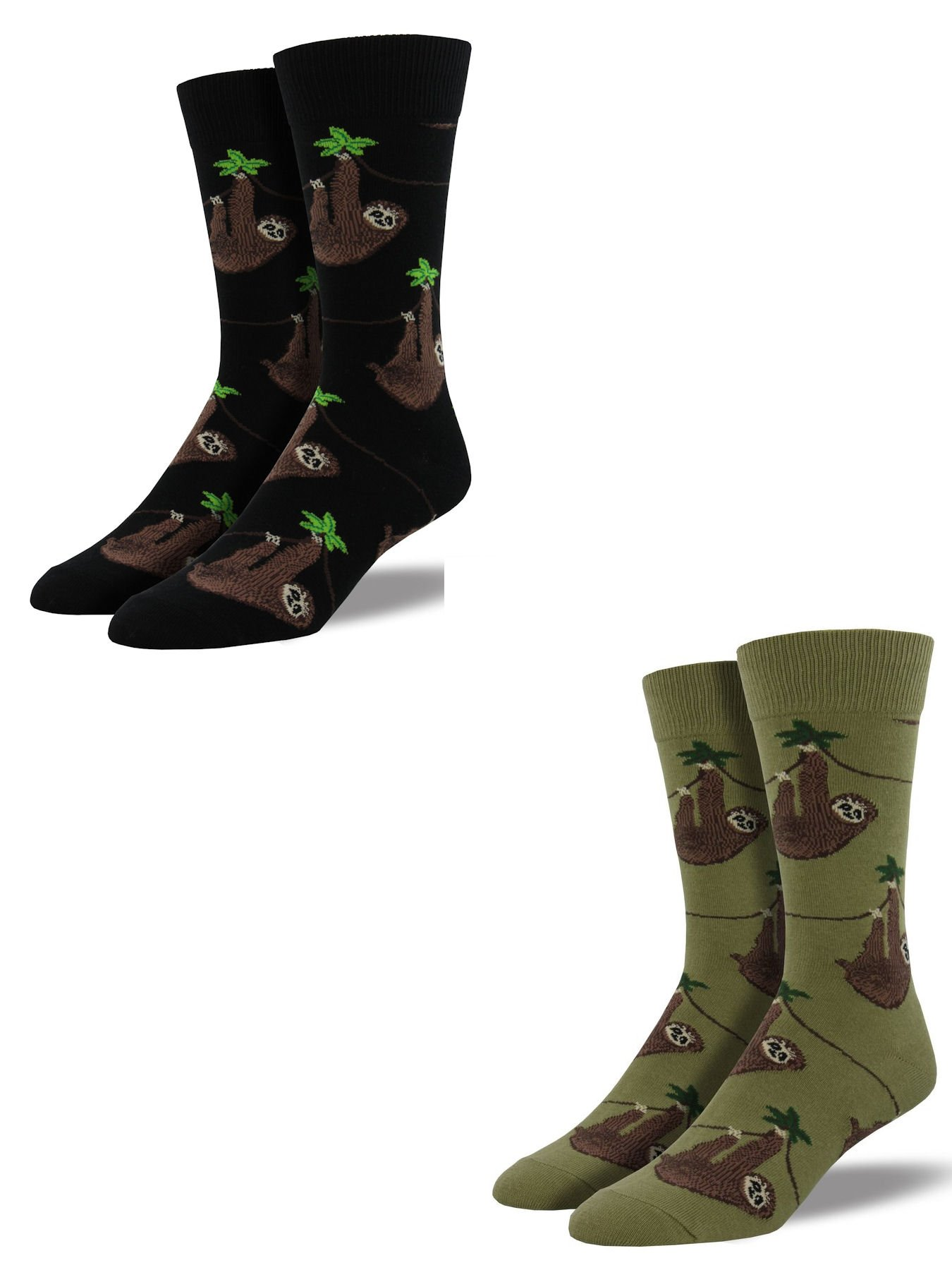 Bundle 2 Items: Sloth Black And Olive One Size Fits Most Mens Socks - Socksmith