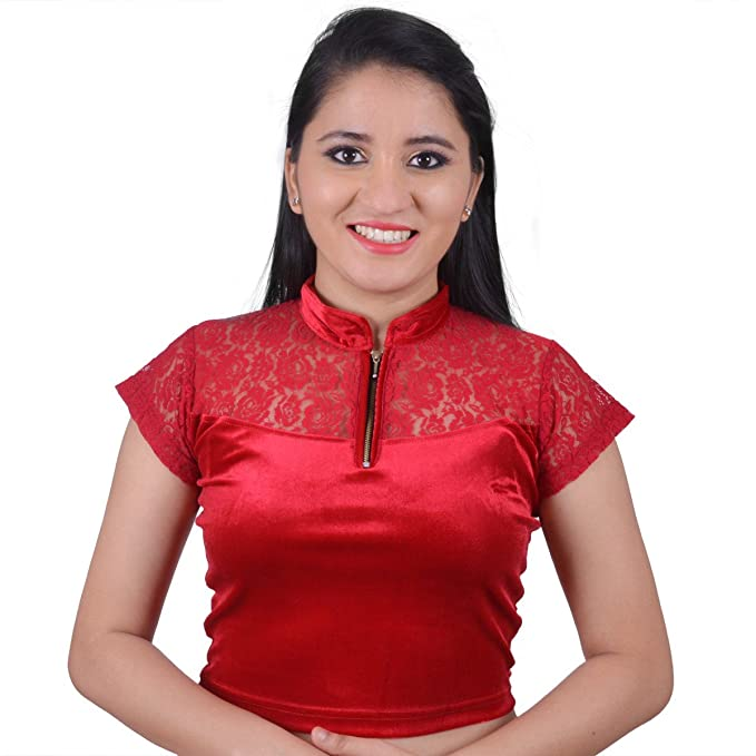 82fc9b7b13615 Areum Women's Lycra Maroon Chinese Collar Zipper Lace Strechable Readymade  Saree Blouse