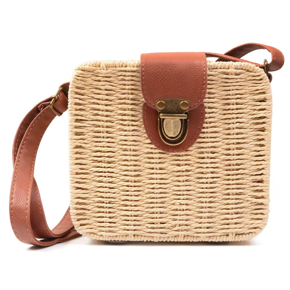 KISS GOLD(TM) Ladies Vintage Straw Woven Bag Beach Handbag Crossbody Shoulder Bag, Beige