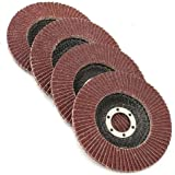 """Grinding Wheels – Flap Grinding Wheels For Angle Grinder – 5 Piece Ideal Grinding, Polishing, Rust Removing Size 4 1/2"""" X 7/8 Aluminum Oxide: #80 Grit, - By Katzco"""