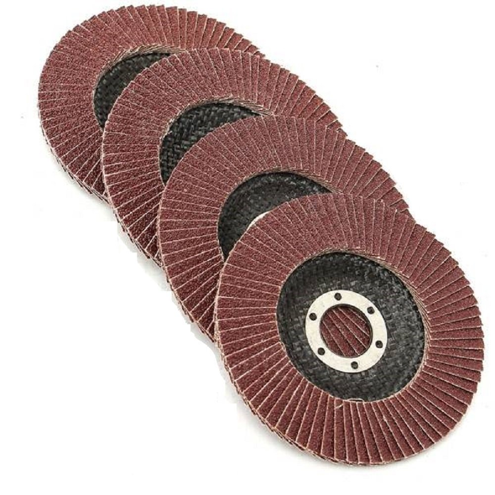 """Grinding Wheels – Flap Grinding Wheels For Angle Grinder - 5 Piece 4 ½ Finish work, deburring, and light grinding Size 4 1/2"""" X 7/8- Grit Aluminum Oxide: Grit #40, 60, 80, 120, 180, Katzco"""