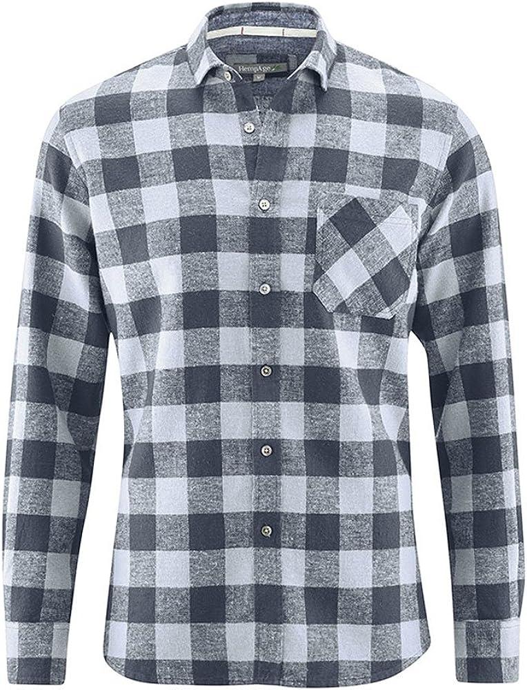 HEMPAGE - Camisa para Hombre con Cuadros de cáñamo y algodón orgánico Gris M: Amazon.es: Ropa y accesorios