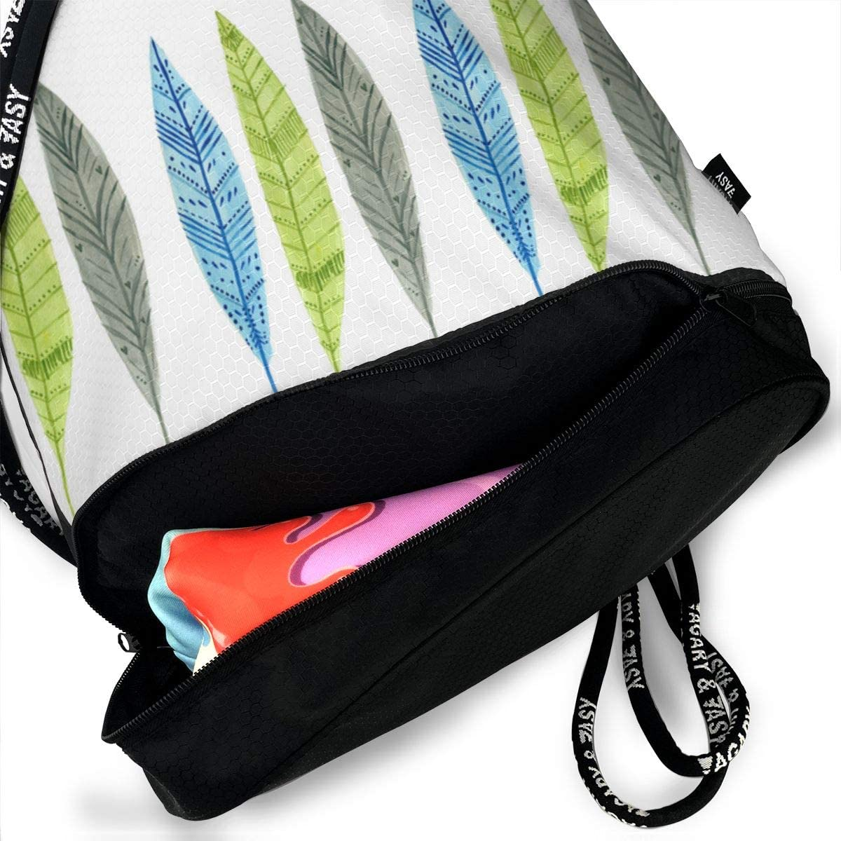 Feathers Drawstring Backpack Sports Athletic Gym Cinch Sack String Storage Bags for Hiking Travel Beach