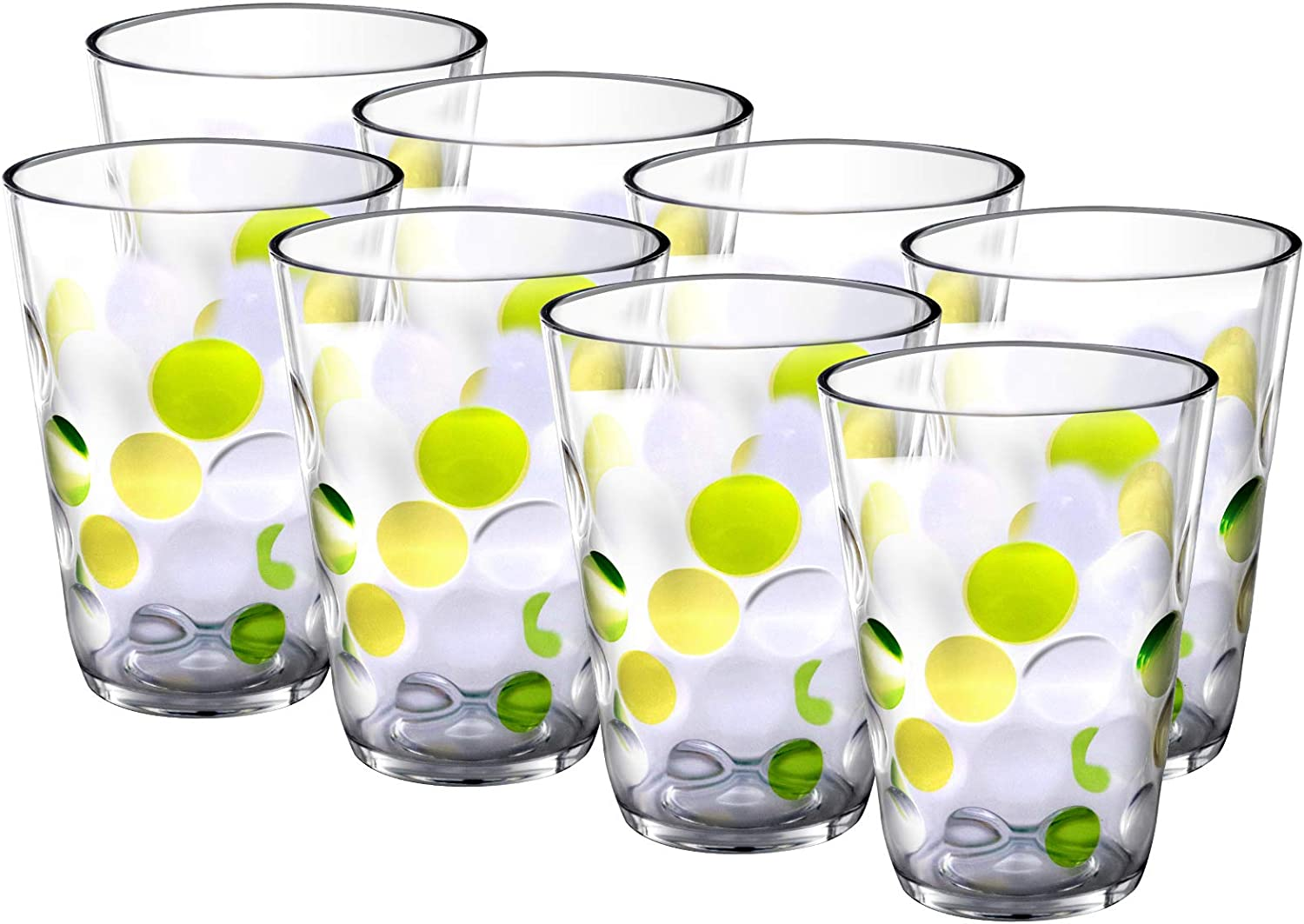 Plastic Water Tumblers, 12-ounce Acrylic Break-Resistant Drinking Glasses Dishwasher Safe Bathroom Cups Stackable Juice Glasses| Clear Set of 8 (Green)