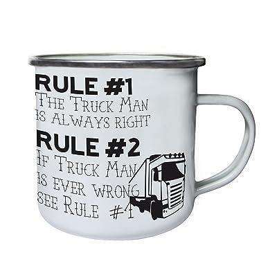 règle 1 l'homme de camion a toujours raison Rétro, étain, émail tasse 10oz/280ml cc581e