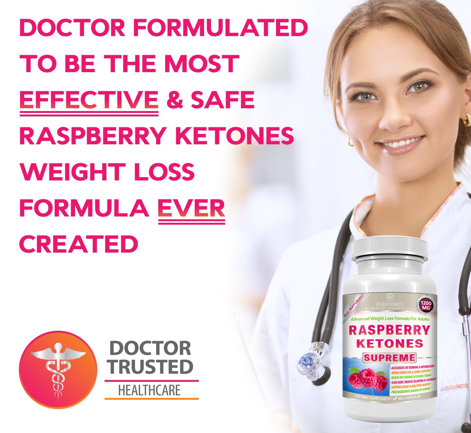 Raspberry Ketones Supreme Weight Loss & Slimming Formula for Adults. 1200mg Per Day. 180 All-Natural Capsules with Premium, Pure & Organic Ingredients. by Evergenics Health and Personal Care (Image #3)