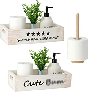 FOREVERL WoodenToiletTankBox,FunnyBathroomDecorBox, ToiletPaperHolderBasket, FarmhouseRusticWoodOrganizer,DecorativeStorageBoxforBathroom, Kitchen,TableandCounter