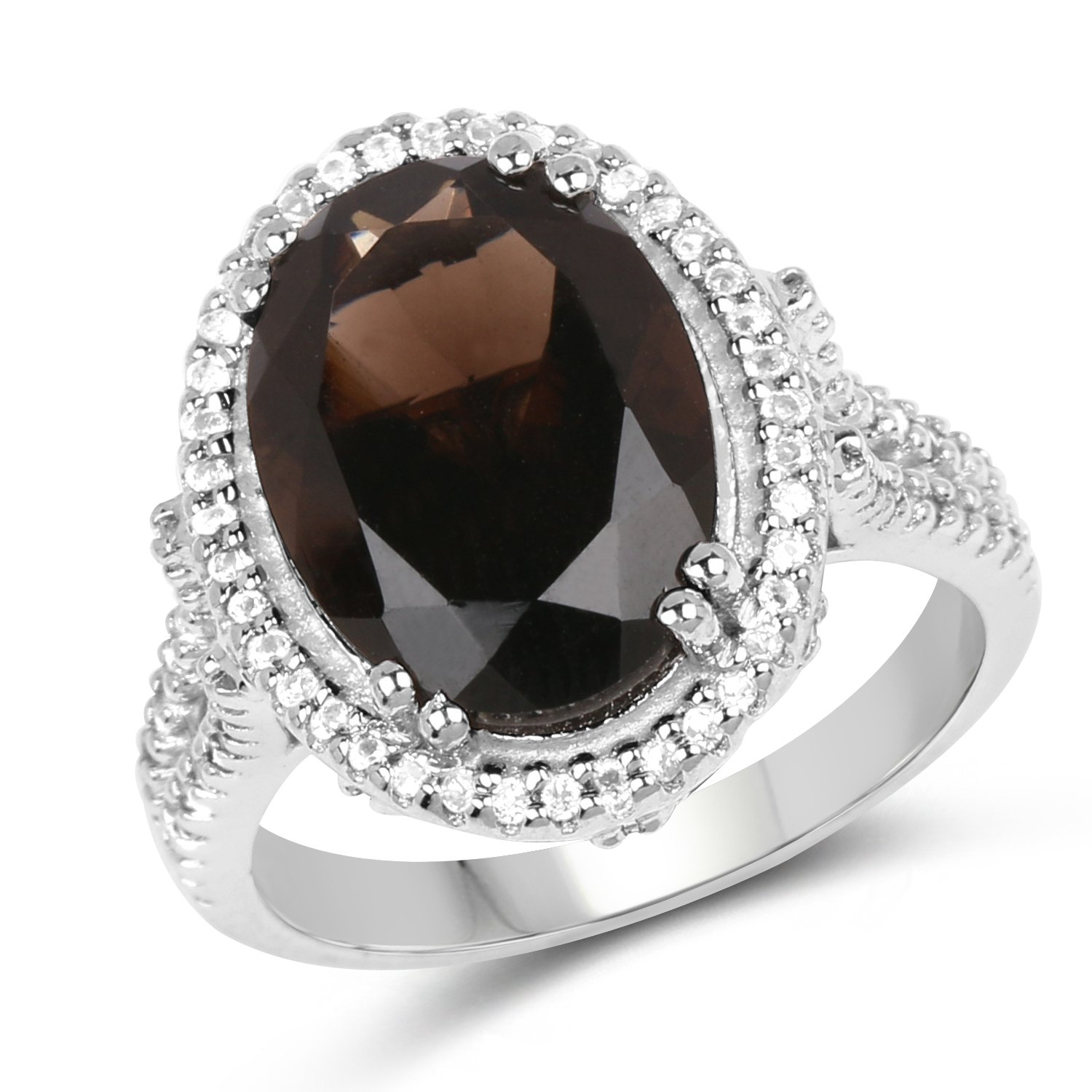 14x10MM Oval Smoky Quartz Ring in .925 Sterling Silver, Real Genuine Smoky Quartz Mother's Day Gift (5.45ctw)