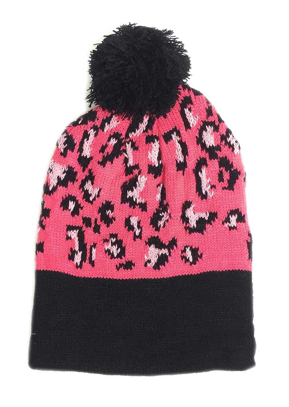 49d91a657cbe37 Amazon.com: Aesthetinc Classic Leopard Print Knit Pom Pom Beanie Hat  (Ivory): Clothing