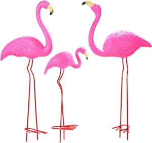 "Ohuhu Family Flamingo Yard Ornaments, Set of 3 (32"", 31"", 19"") Bright Pink Flamingos Family with Metal Feet Stakes for Garden Decoration"
