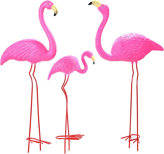 """Details about  /Metal Pink Flamingo Yard Ornament Garden Decoration Animal Ornaments High 35.6/"""""""