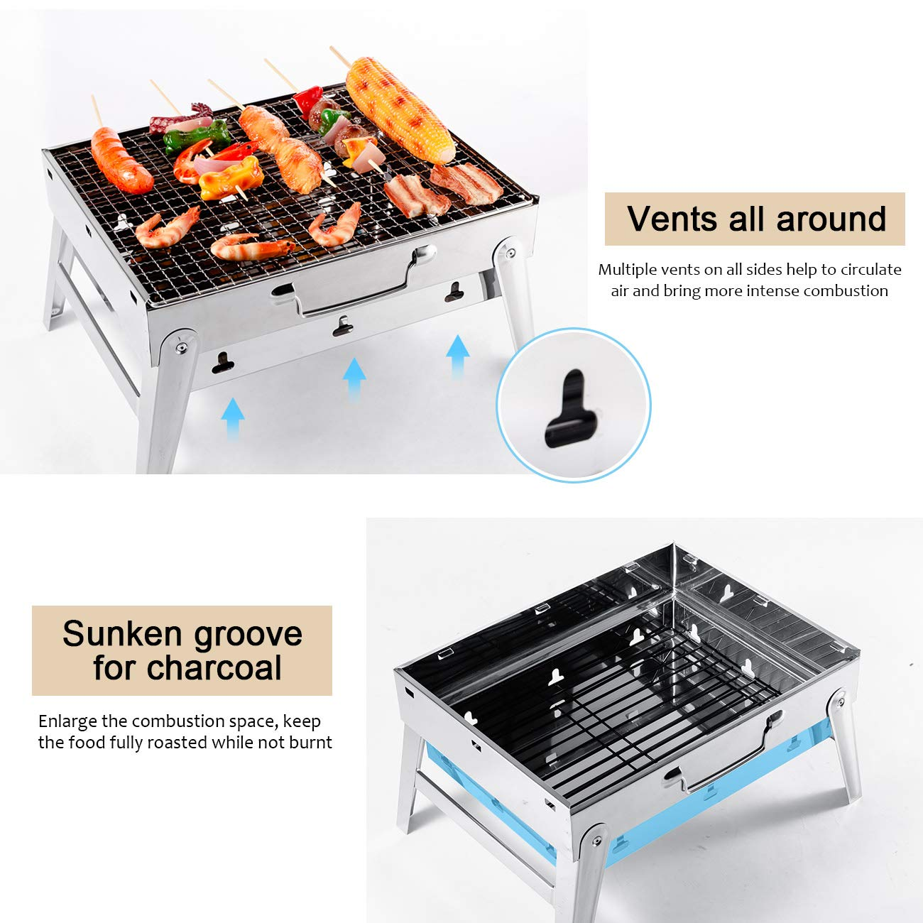 Overmont Barbecue Grill Portable Foldable BBQ Stand Charcoal Shelf Grate with Galvanized Feet for Home Camping