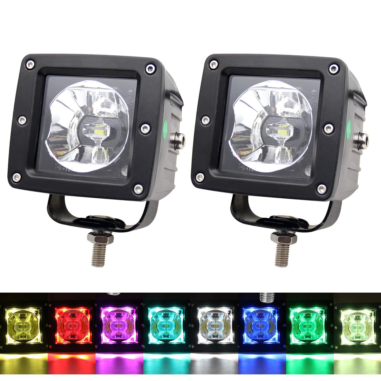 LED RGB Rock Lights 3 Inch Square Led Work Light Driving Light CREE Chips 6500K Fog Lamp Off-road Lighting Decorative Lights for Jeep, Truck, ATV, SUV BraveWAY