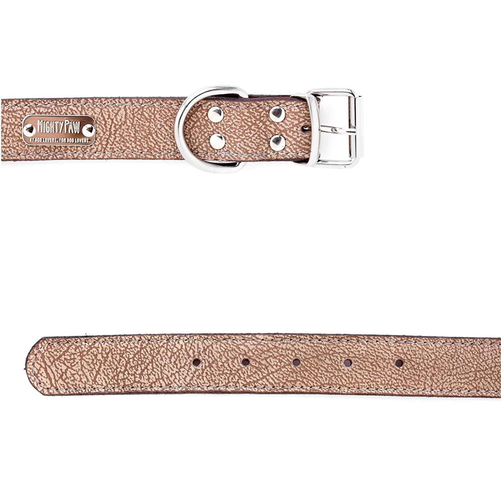 Mighty Paw Leather Dog Collar Super Soft Light Brown - 9