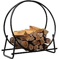 DOEWORKS 30 Inches Medium Round Steel Firewood Racks Heavy Duty Holder Log Rack Hoop