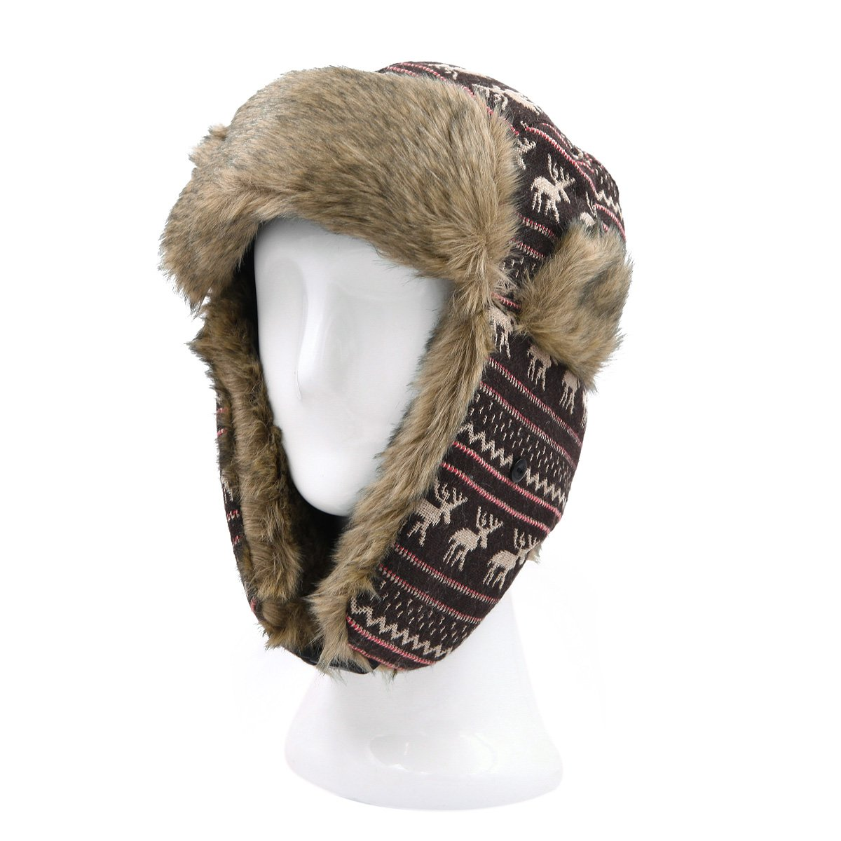 d8cf99a08cc Warm Winter Reinedeer Faux Fur Trapper Ski Snowboard Hunter Hat ...